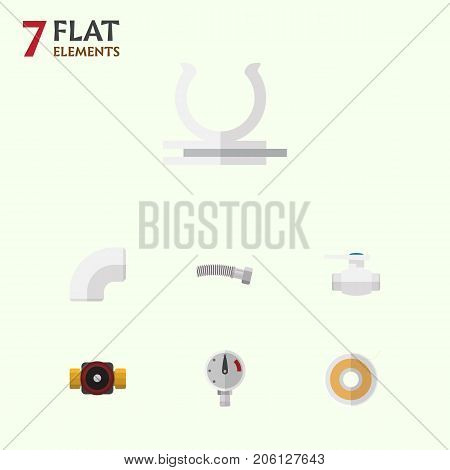 Flat Icon Plumbing Set Of Pressure, Tap, Roll And Other Vector Objects