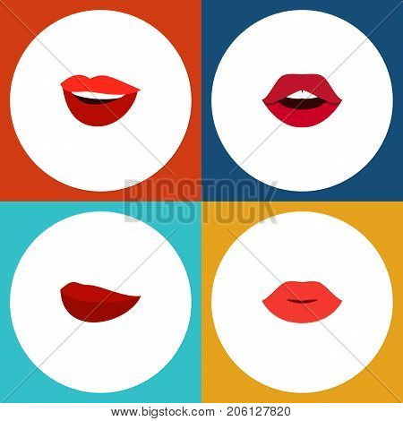 Flat Icon Lips Set Of Lips, Laugh, Kiss And Other Vector Objects
