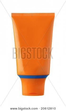 nameless orange and blue plastic bottle for beauty product on white background poster