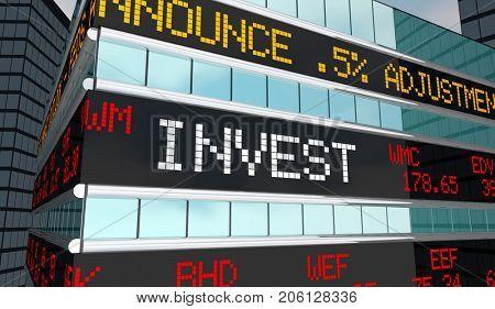 Invest Stock Market Ticker Stocks Brokerage Building 3d Illustration poster