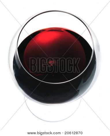Glass of red wine view from above close-up isolated over white background