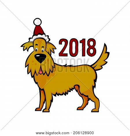 .Yellow earthen dog in the New Year's cap. Symbol of 2018 on the eastern calendar isolated on white background. A faithful animal.