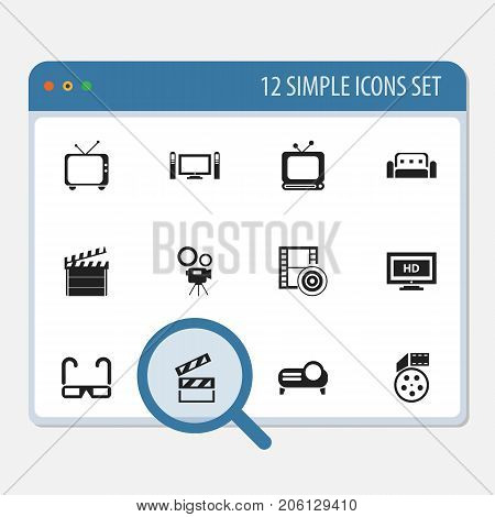 Set Of 12 Editable Cinema Icons. Includes Symbols Such As Tv, Movie Camera, Film Spectacles And More