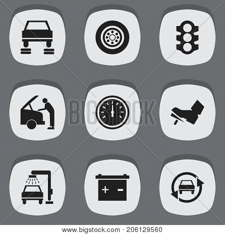 Set Of 9 Editable Vehicle Icons. Includes Symbols Such As Stoplight, Tire, Tuning Auto And More