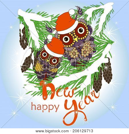 Two violet owls in red hats sitting on green fir branches in white snow with cones, Lettering Happy New Year stock on blue vector illustration