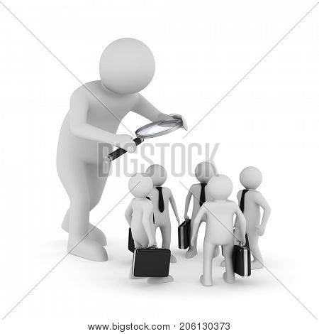 personnel selection on white background. Isolated 3D illustration