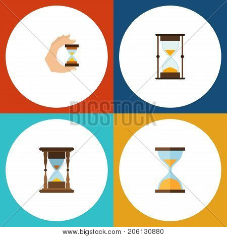 Flat Icon Hourglass Set Of Minute Measuring, Sandglass, Measurement Vector Objects
