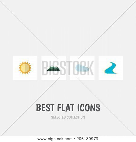 Flat Icon Natural Set Of Tributary, Solar, Overcast And Other Vector Objects