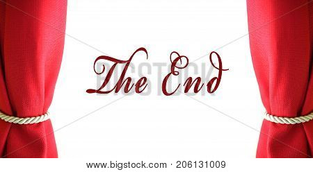 Red curtain with the end text on white background