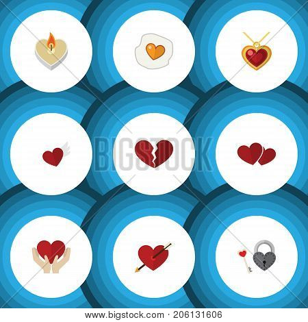 Flat Icon Love Set Of Soul, Key, Fire Wax And Other Vector Objects