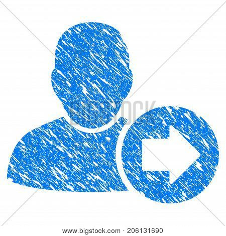 Grunge Next User icon with grunge design and dust texture. Unclean vector blue Next User pictogram for rubber seal stamp imitations and watermarks. Draft sticker symbol.