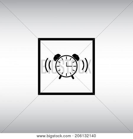 Alarm clock isolated vector sign. Alarm clock flat vector icon. Alarm clock square button.
