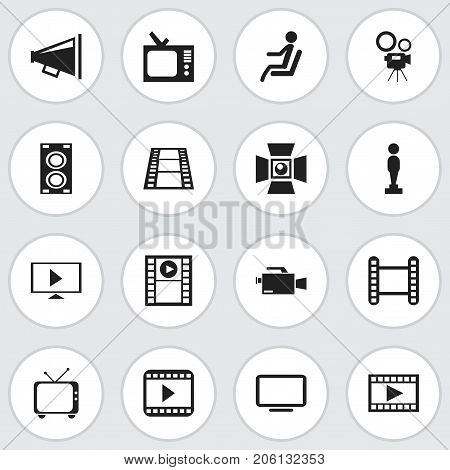 Set Of 16 Editable Filming Icons. Includes Symbols Such As Movie Player, Video Camera, Camera Strip And More