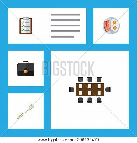 Flat Icon Oneday Set Of Fried Egg, Questionnaire, Dental And Other Vector Objects