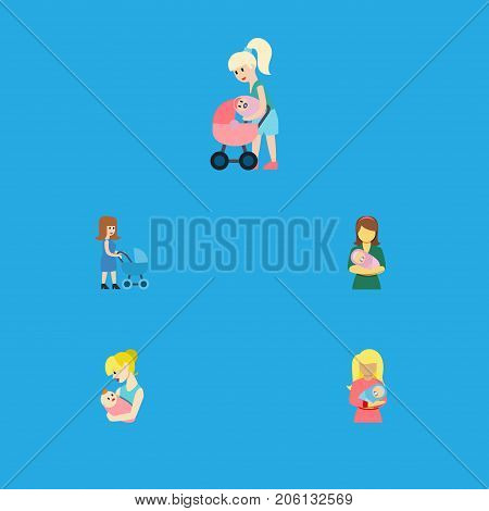 Flat Icon Parent Set Of Mother, Perambulator, Kid And Other Vector Objects