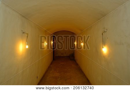 A long tunnel through an old building