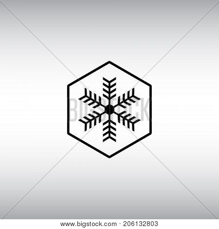 Snowflake flat vector icon. Isolated frost proof vector sign. Snowflake hexagon badge.