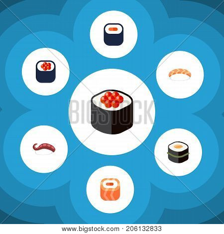 Flat Icon Maki Set Of Eating, Japanese Food, Maki And Other Vector Objects