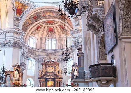 Salzburg, Austria - December 25, 2016: Dome of the Salzburg Cathedral or Salzburger Dom in which composer Mozart was baptized