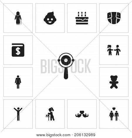 Set Of 13 Editable Kin Icons. Includes Symbols Such As Friends, Madame, Beloveds And More