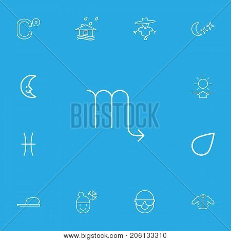 Set Of 13 Editable Weather Outline Icons. Includes Symbols Such As Sunup, Celsius, Lunar And More