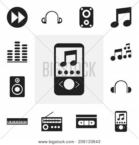 Set Of 12 Editable Mp3 Icons. Includes Symbols Such As Music, Pianoforte, Next And More