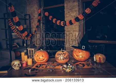 Preparation For Halloween, Cutted Pumpkin, Fall Leaves, Spider Web Net, Skull, Cap Of Witch, Bowl Wi