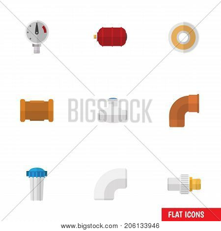 Flat Icon Plumbing Set Of Plastic, Container, Industry And Other Vector Objects