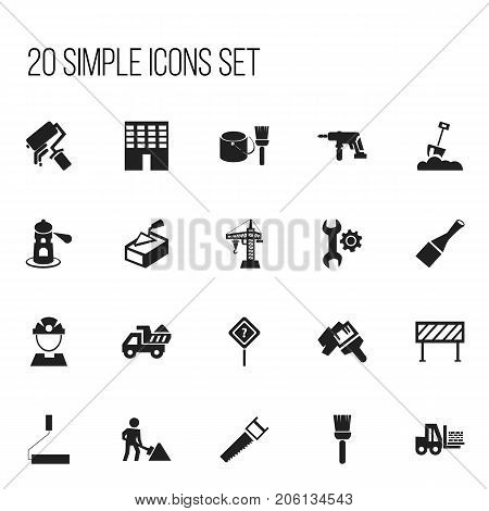 Set Of 20 Editable Structure Icons. Includes Symbols Such As Seamark, Camion, Hacksaw And More