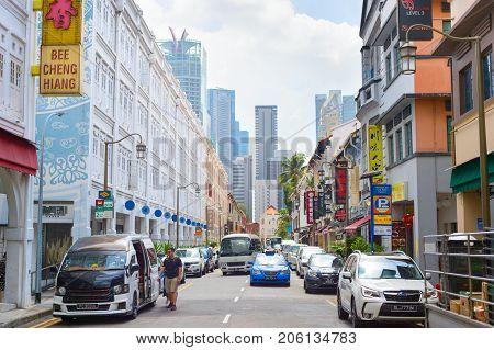 Singapore Chinatown Car Road Street