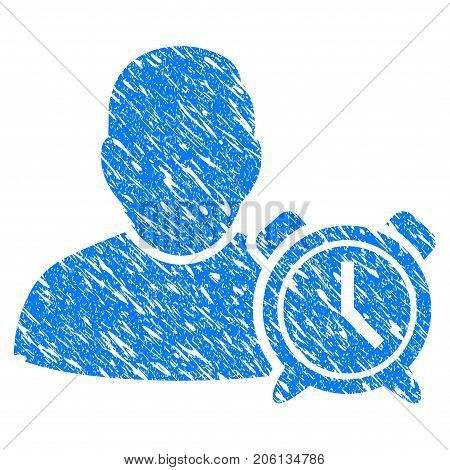 Grunge User Alarm Clock icon with grunge design and scratched texture. Unclean vector blue User Alarm Clock pictogram for rubber seal stamp imitations and watermarks. Draft emblem symbol.