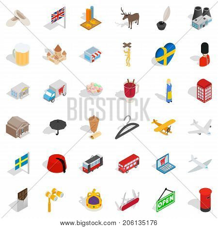 Country icons set. Isometric style of 36 country vector icons for web isolated on white background