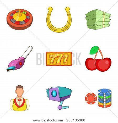 Dangerous hobby icons set. Cartoon set of 9 dangerous hobby vector icons for web isolated on white background