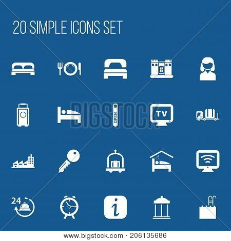 Set Of 20 Editable Hotel Icons. Includes Symbols Such As Unblock Access, Luggage, Building And More