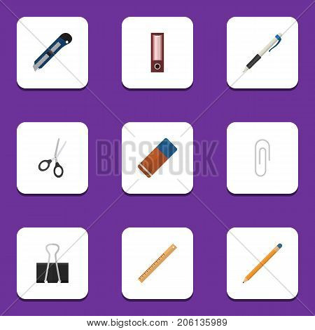 Flat Icon Stationery Set Of Pencil, Straightedge, Fastener Page And Other Vector Objects