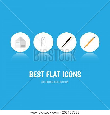 Flat Icon Equipment Set Of Fastener Page, Nib Pen, Drawing Tool And Other Vector Objects