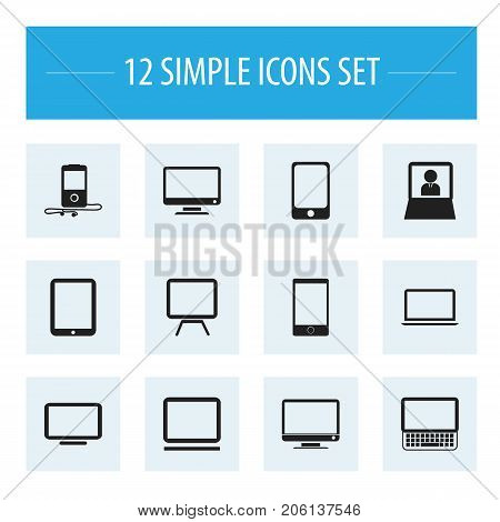 Set Of 12 Editable Instrument Icons. Includes Symbols Such As Tv, Screen, Smartphone And More