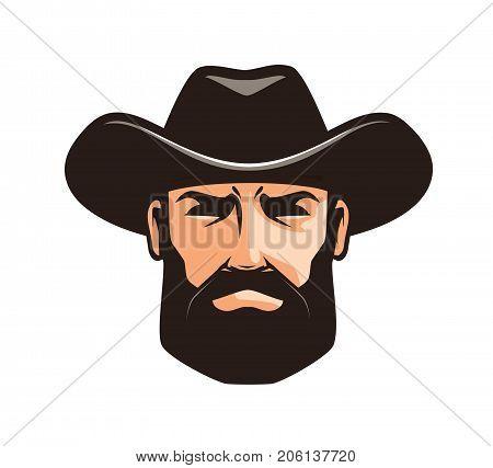 American cowboy logo or label. Sheriff, wrangler, rodeo symbol Cartoon