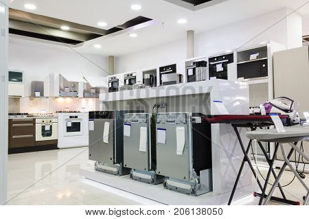 dish washers, stoves and other appliance or equipment in the retail store showroom