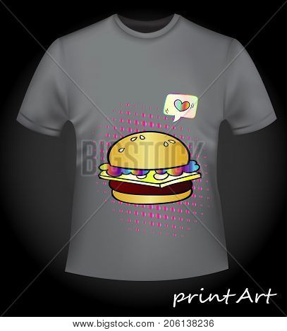Stylish unisex t-shirt with print fast food - juicy burger. A bright neon print, close-up. Trend of the season