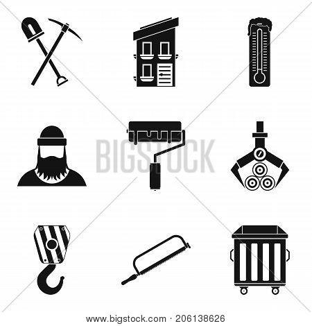 Warehouse equipment icons set. Simple set of 9 warehouse equipment vector icons for web isolated on white background