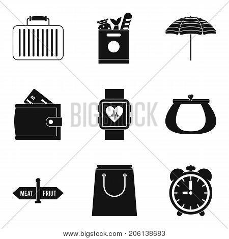 Paraphernalia icons set. Simple set of 9 paraphernalia vector icons for web isolated on white background