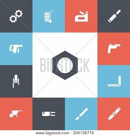 Set Of 13 Editable Apparatus Icons. Includes Symbols Such As Cogwheel, Drilling Machine, Internal Screw And More