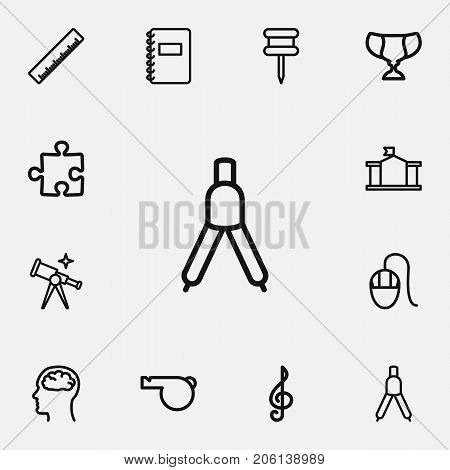 Set Of 12 Editable Teach Outline Icons. Includes Symbols Such As Classbook, Goblet, Straightedge And More