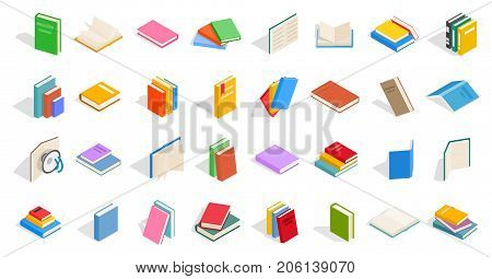 School books icon set. Isometric set of school books vector icons for web isolated on white background