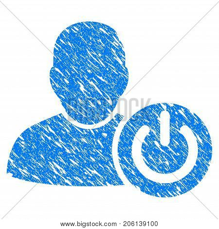 Grunge User Log Off icon with grunge design and unclean texture. Unclean vector blue User Log Off pictogram for rubber seal stamp imitations and watermarks. Draft sign symbol.