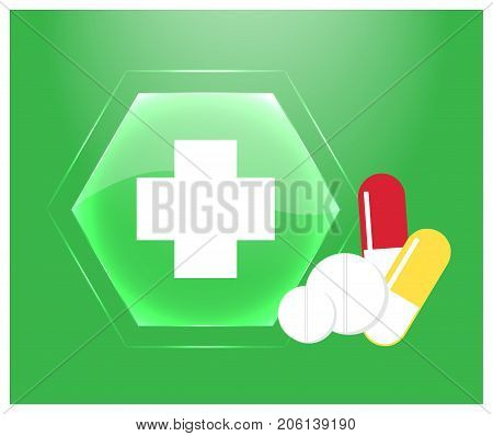Medical logo or emblem of the pharmacy. Green glass button with cross tablets and pills. Vector illustration.