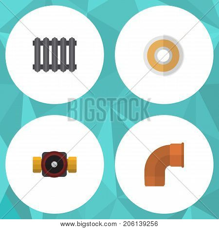 Flat Icon Industry Set Of Tap, Heater, Roll And Other Vector Objects
