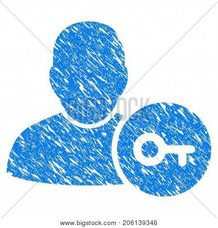 Grunge User Login icon with grunge design and scratched texture. Unclean vector blue User Login pictogram for rubber seal stamp imitations and watermarks. Draft sticker symbol.