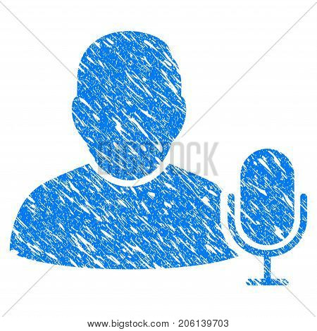 Grunge User Microphone icon with grunge design and dirty texture. Unclean vector blue User Microphone pictogram for rubber seal stamp imitations and watermarks. Draft sign symbol.